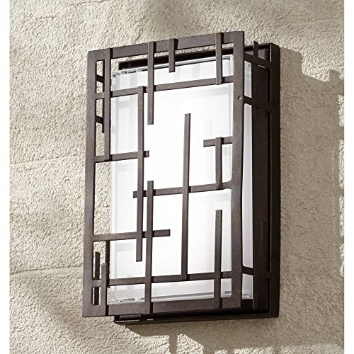 """Modern Lines Outdoor Wall Light Fixture LED Dimmable Bronze Grid 9 1/4"""" White Cased Glass for Exterior House Porch Patio Deck - Possini Euro Design"""
