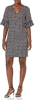 Lark & Ro Vestido de Cambio de Cuello en V con Volante Vestido para Mujer