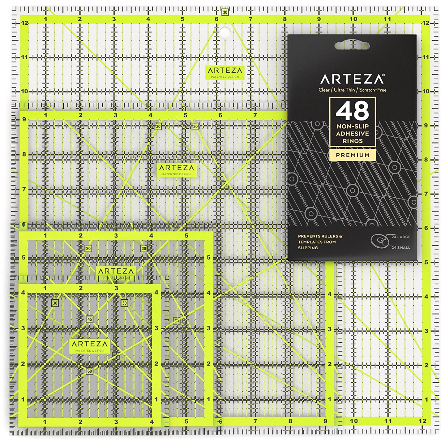 ARTEZA Acrylic Quilters Ruler & Non Slip Rings - Double-Colored Grid Lines (4.5