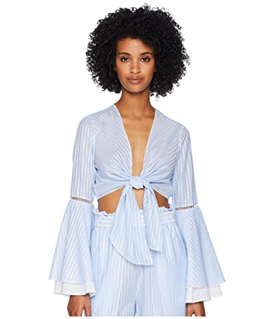 Jonathan Simkhai Striped Cotton Tie Bell Sleeve Top (Chambray Combo) Women