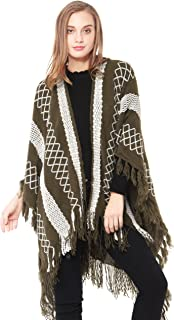 Women's Embroidery Knitted Blanket Wrap Shawl Tassel Poncho Cape Cardigans