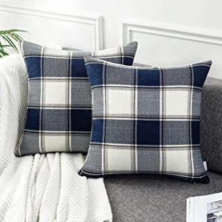 AmHoo Buffalo Plaid Stripe Checker Throw Pillow Covers Square Cushion Cover Farmhouse Classic Decoration Euro Pillowcase with Hidden Zipper,Set of 2 (Blue,20x20inches)