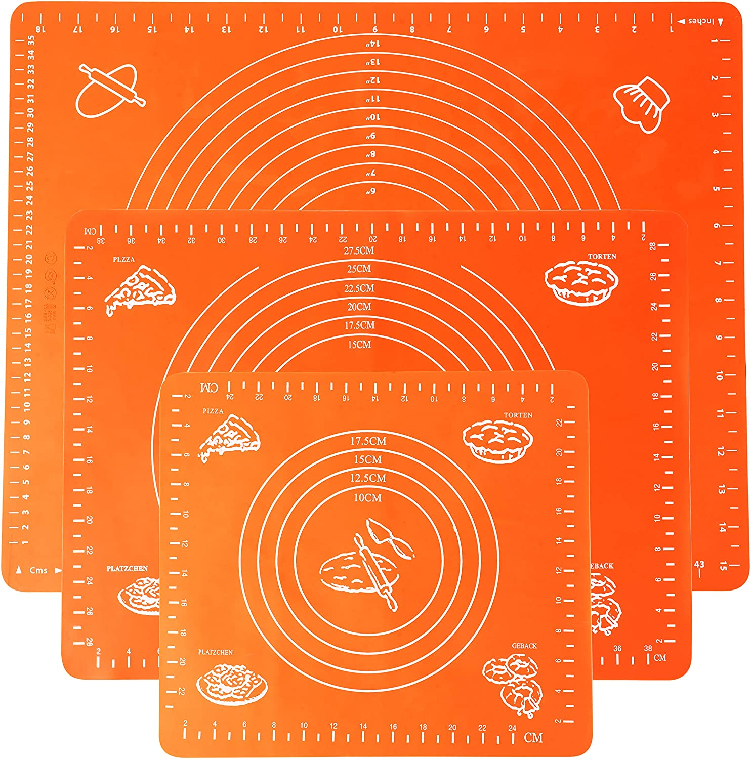 POPCO Pack of 3 gift Silicone Baking Professio Detroit Mall Set Cooking Mats