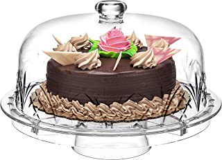 Godinger 6 in 1 Cake Stand and Serving Plate Platter with Dome Cover, Multi-Purpose Use, Shatterproof and Reusable Acrylic - Dublin Collection