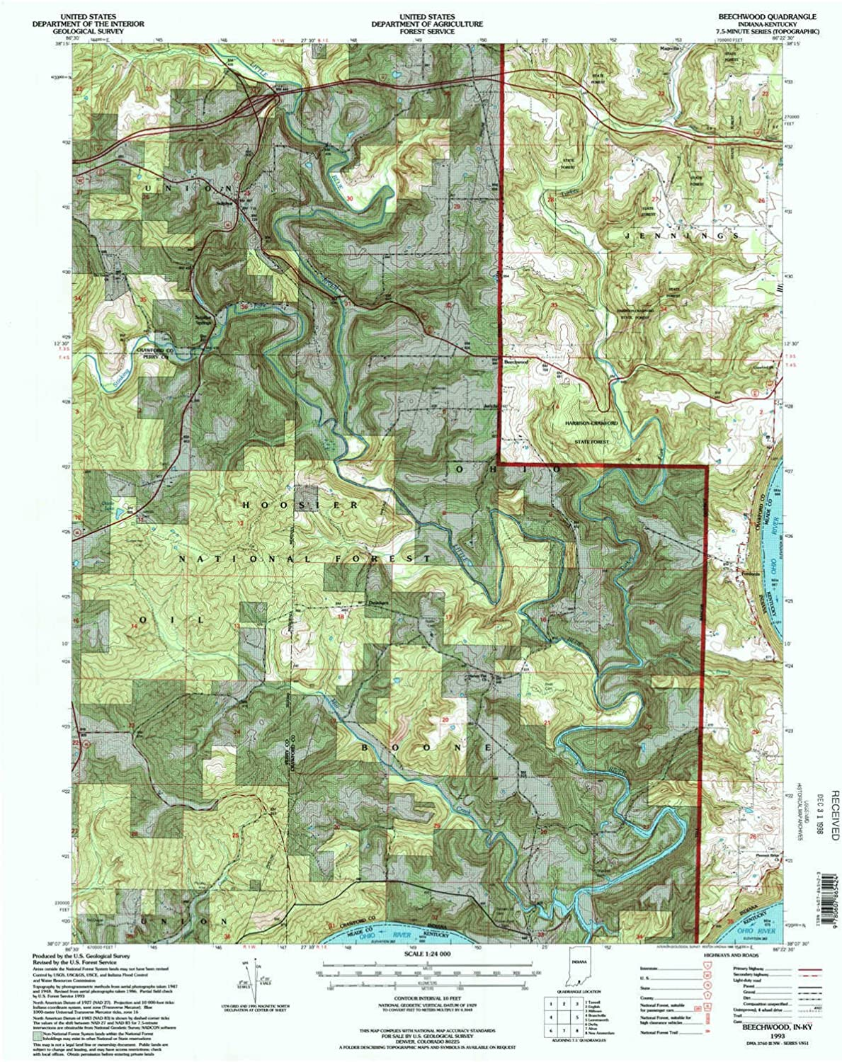 Beechwood in topo map, 1 24000 Scale, 7.5 X 7.5 Minute, Historical, 1993, Updated 1998, 26.9 x 22.1 in