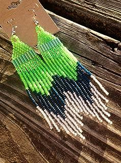 Neon Green Seattle Seahawks Inspired Color-Blocking Beaded Earrings