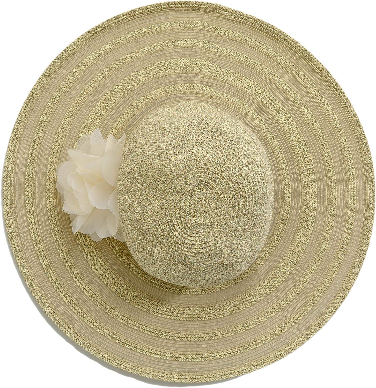 NINE WEST Women's Packable Adjustable Super Floppy Spring Church Hat Flower Natural