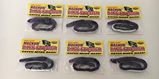 Bass Magnum Worms Purple White Worms for Fishing 3 Hook K&E Stopper 6 Pack Bundle