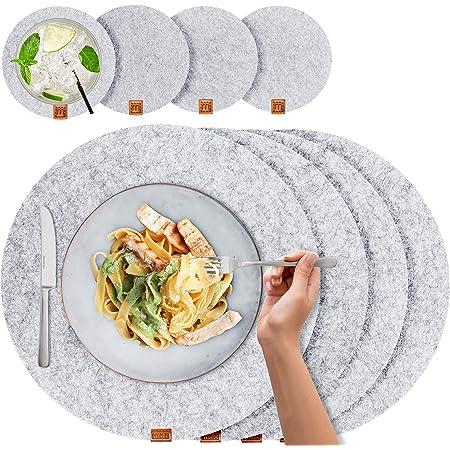 Miqio® - Set de Table Design 8 Pièces - Feutre et Cuir - Rond 37 cm - pour 4 Personnes, Lavable, 4 Sets, 4 Dessous de Verres (Gris Chiné)
