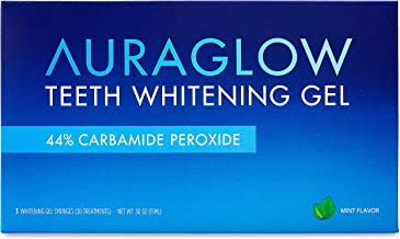 AuraGlow دندان سفید بسته بندی Refill Pack، 44٪ کربامید پراکسید، (3x) 5ml سرنگ