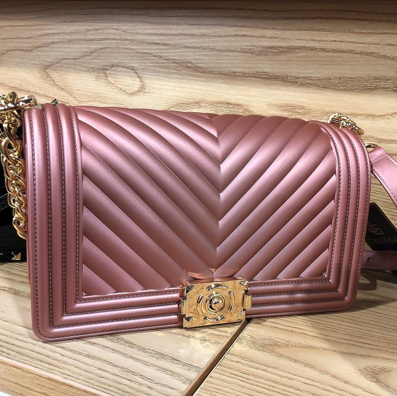 Holly Chic LA Jelly Shoulder bag for Women, Jelly Handbags, Summer Jelly Crossbody bag Purse, Rose Gold Women Girls PVC Fashion Bags