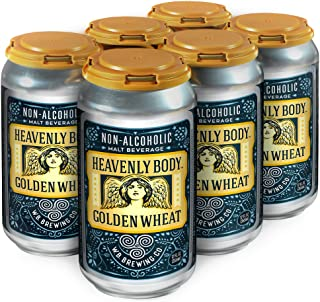 WELLBEING BREWING CO. 6 Pack Cans - Heavenly Body Golden Wheat Non-Alcoholic Craft Beer - 68 Calories - Zero Grams of Sugar - High in Polyphenols (Anti-Oxidants/Anti-Inflammatories) - 12 Fl. oz