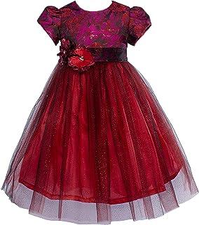 Vainilla y Avella - Vestido para niña con Brocado Rojo