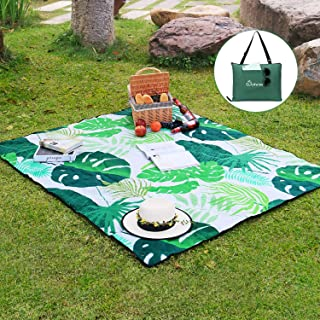 WolfWise Outdoor Warm Fleece Blanket Water Resistant Large Picnic Blanket Machine Washable Folds into a Tote Bag 70