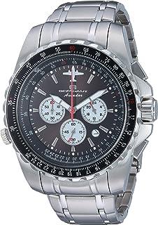 Oceanaut Men's Aviador Pilot Quartz Watch with Stainless-Steel Strap, Silver, 14 (Model: OC0112)