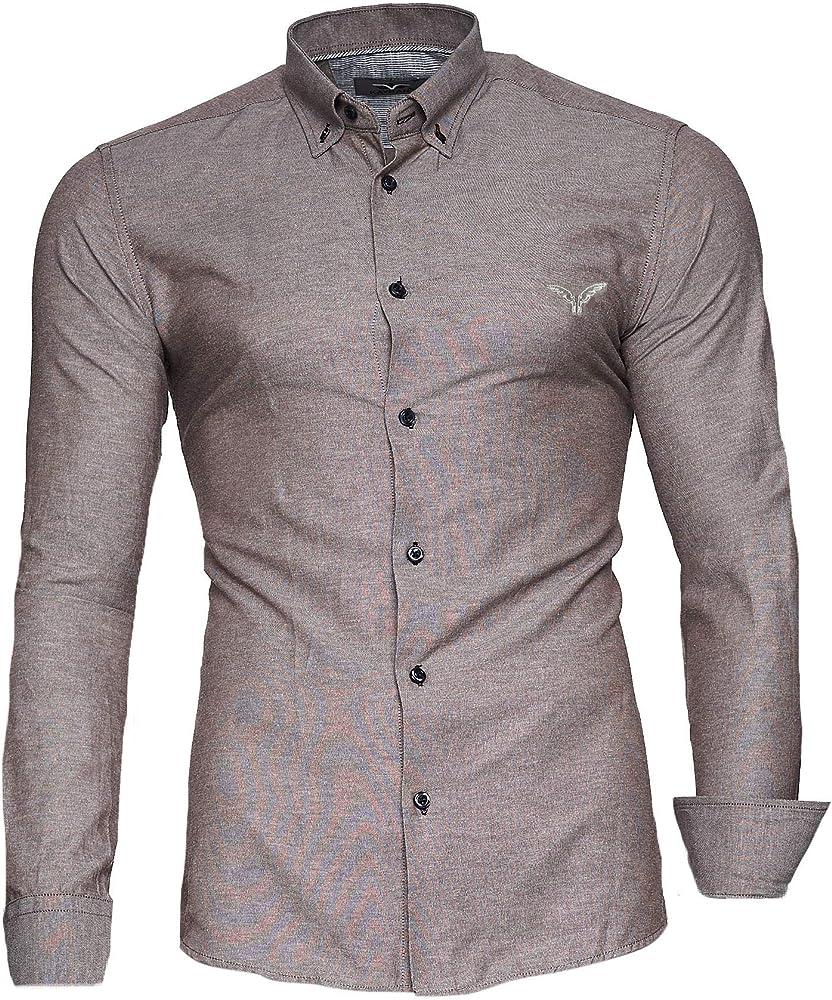 kayhan originale  camicia slim fit maniche lunghe per uomo , 80% cotone, 20% poliestere a-oxford-0016c