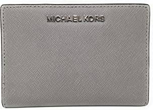 Michael Kors Women's Card Case Carryall Wallet, Leather - Pearl Grey