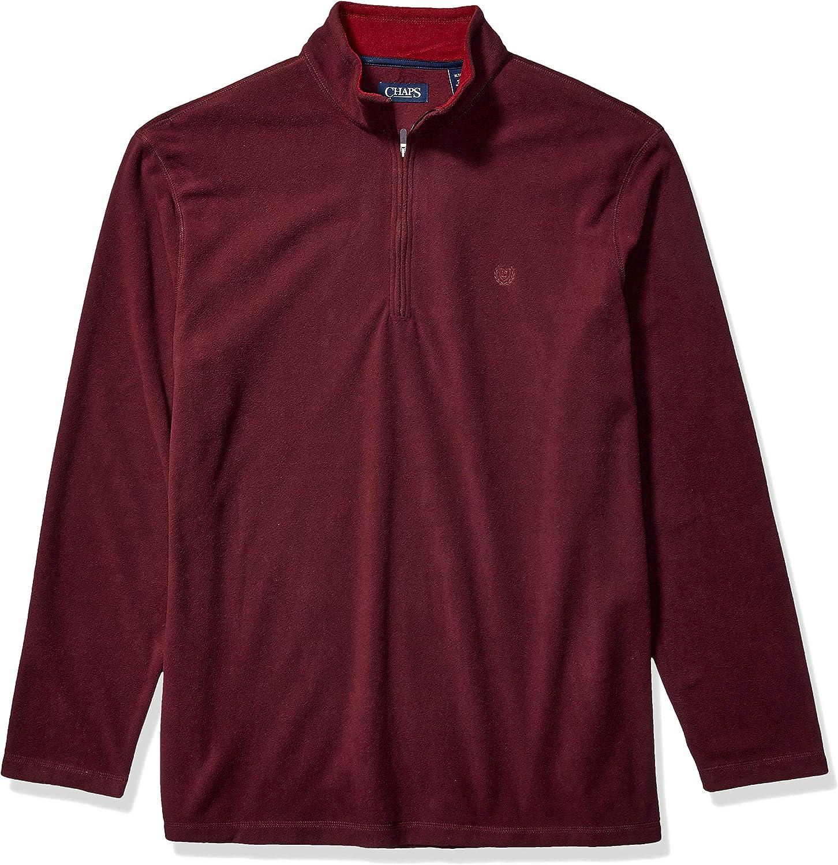 Chaps Men's Big and Tall Fleece Half Zip Mockneck Pullover Jacket