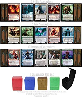 Totem World 20 Magic The Gathering Lot Planeswalker Cards - 5 Mythic, 5 Rares and 10 Uncommon Planeswalkers with a Holiday Dragonhide Flip Deck Box Gift