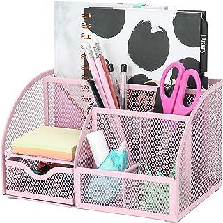 Exerz Desk Organiser/Mesh Desk Tidy/Pen Holder/Multifunctional Organizer - Light Pink