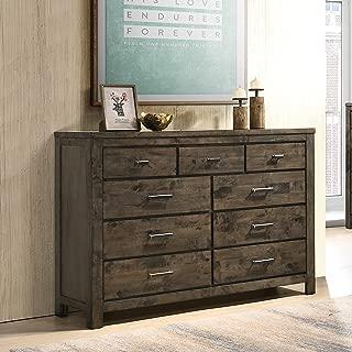 Roundhill Furniture Pavita Weathered Distressed Dresser, Brown