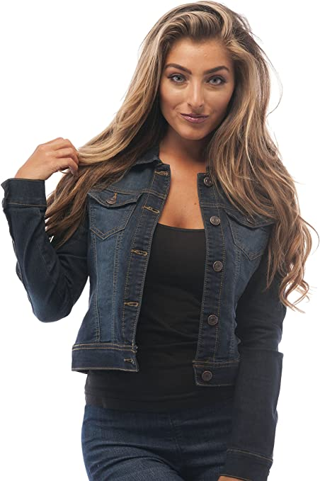 Cropped denim jacket for women | Dark blue denim jacket perfect staple for any casual outfit | classic denim jacket