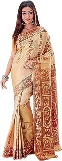 SareesofBengal Women's Katan Silk Meenakari Baluchari/Swarnachari Saree Dutch White