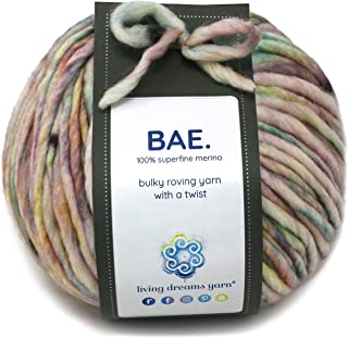 BAE by Living Dreams Yarn. Cuddly, Strong & Super Soft for Next to Skin Winter Knits. 100% Extrafine Merino Bulky Roving Y...
