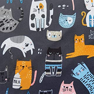 white background cotton fabrics Cat Fabric Cat Back Cotton Fabric Quilting Cotton Fabric by Yard Painted Cat Back printed on navy blue