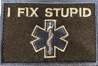 PakedDeals I Fix Stupid Blue Border Morale Patch Hook & Loop Police EMS Medical Nurse Tactical Bag Patch