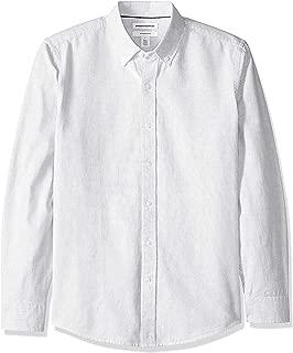 Amazon Essentials Men's Slim-Fit Long-Sleeve Stripe Oxford Shirt