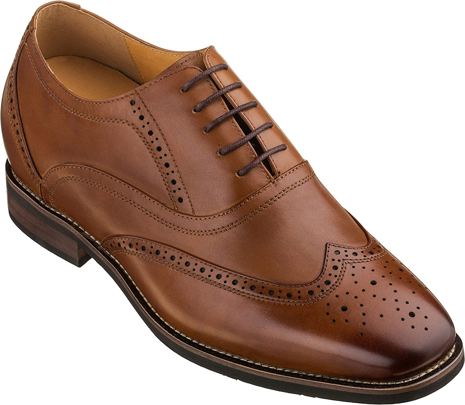 CALTO Men's Invisible Height Increasing Elevator Shoes - Dark Brown Leather Lace-up Brogue Wing-tip Oxfords - 2.6 Inches Taller - G60101