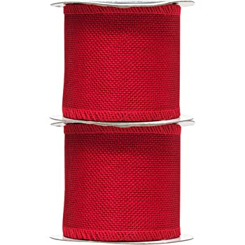 Red Burlap Ribbon 3 Inch 2 Rolls 20 Yards Unwired Rustic Jute Ribbon for Crafts, Mason Jars, Weddings, Party Decoration; by Mandala Crafts