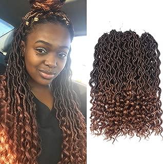 African Hair Braiding Goddess Faux Locs Crochet Hair Braids Wavy with Curly Ends African American Hair Extensions Dark Brown Soft Dread Dreadlocks (6Packs/Lot, 1B/30#)