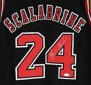 Brian Scalabrine Chicago Bulls Autographed Custom Black #24 Jersey JSA Witnessed COA