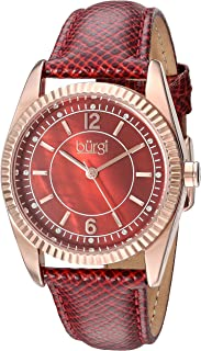 Burgi Womens Quartz Watch, Analog Display and Leather Strap BUR167RD