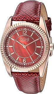 Burgi Womens Quartz Watch, Analog Display and Leather Strap BUR167RD