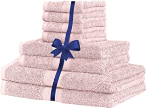 100% Cotton Skin Friendly Bath Towel Hand Towel Face Washer or 8 Piece Towel Set (Soft Pink)