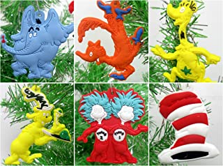 Dr. Seuss 6 Piece Christmas Tree Ornament Set Featuring Iconic Seuss Characters - Around 2