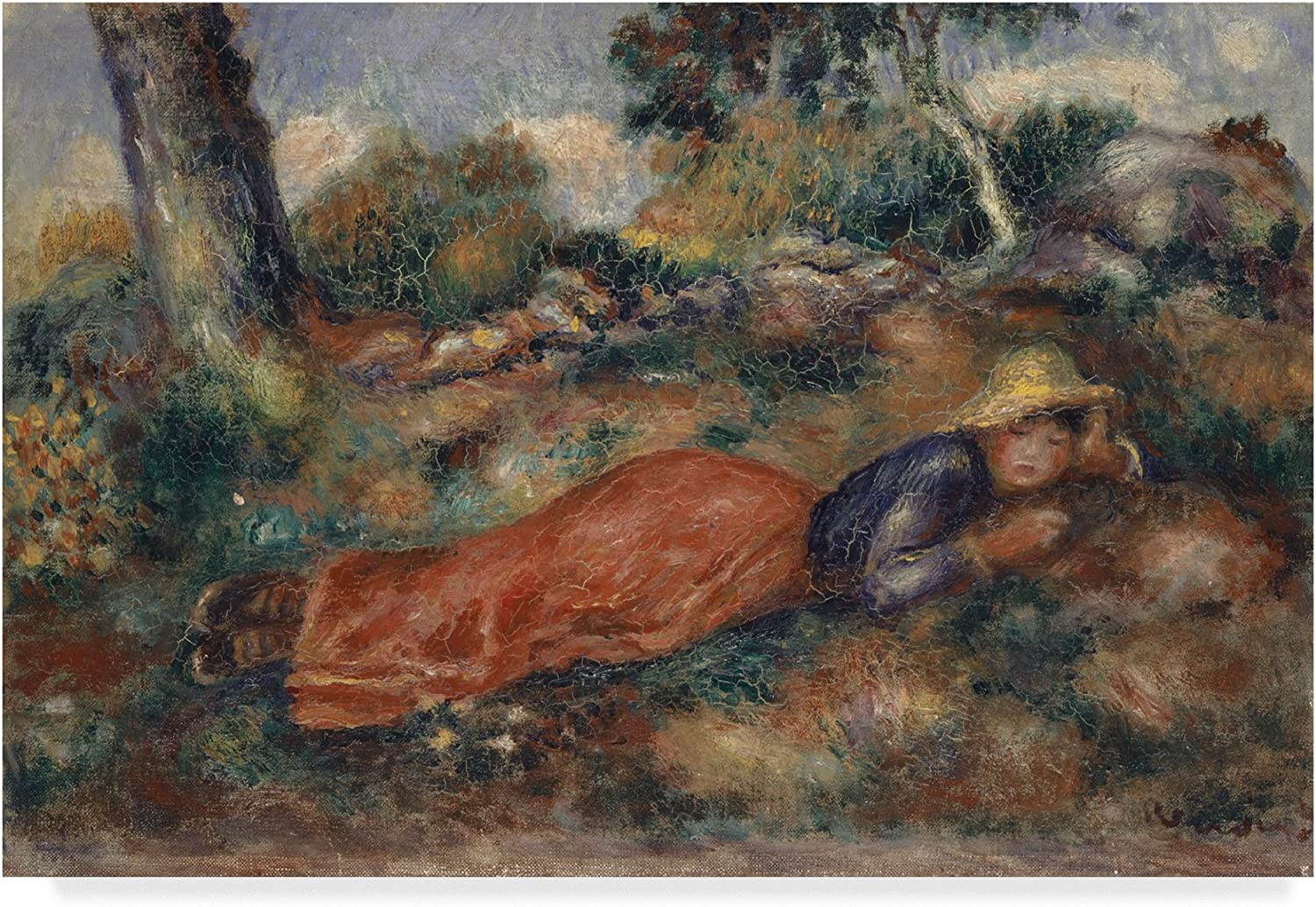 Trademark Fine Art Young Woman Lying in The Grass by Pierre Auguste Reblack, 12x19, Multicolor