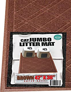 iPrimio Cat Litter Mat with Plaid Design – Anti-Slip Jumbo Size 42 x 36 inches - Traps Litter from Paws and Box – Phlatlate and BPA Free - Suitable for Giant, Jumbo, Small Cats and Kitten