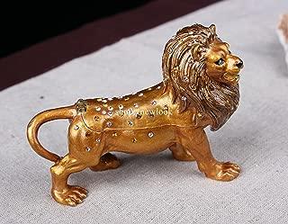 Lion Jewelled Enamlled Trinket Box or Figurine Hinge Lion Animal Trinket Box (Brown)
