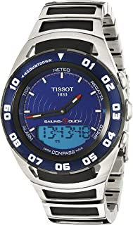 Men's 'Sailing Touch' Blue Dial Stainless Steel/Rubber Multifunction Watch T056.420.21.041.00