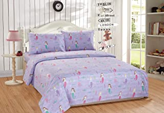 Mk Home Set 3pc Twin Size Sheet Set for Girls Mermaids Fishes Aqua Lavender Pink New