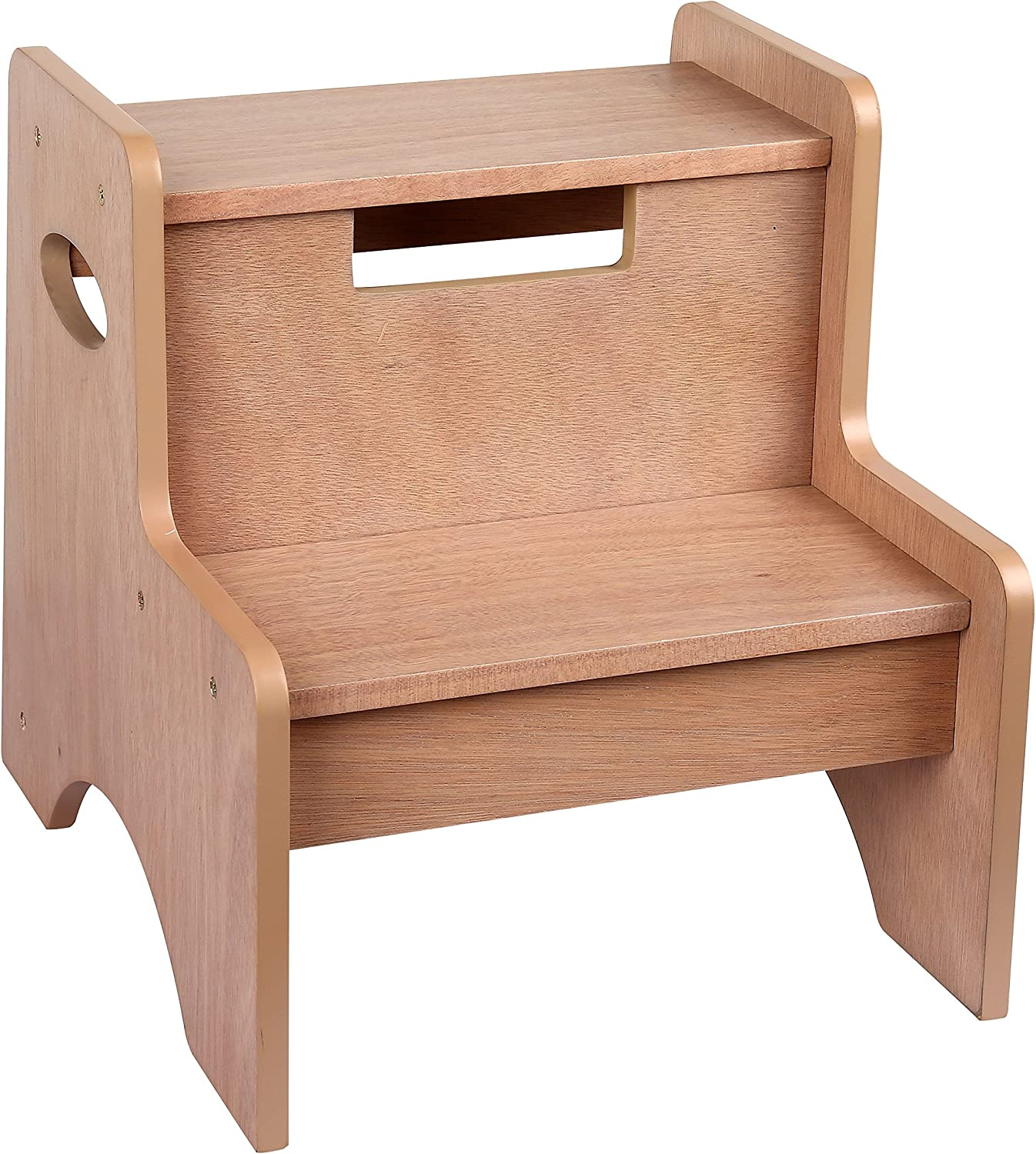 Two-Step Stool by Wildkin, Wooden Step Stool for Kids and Adults, Home and Office, 14-inches High, Ages 3+