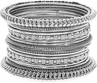 Traditional Antique Look Oxidized Bohemian Bangle Pair for Women Girls in Indian Bollywood Style
