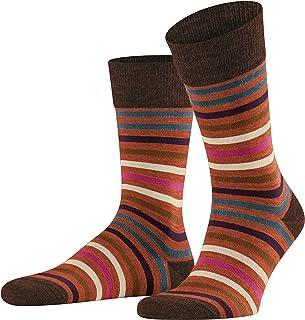FALKE Socken Tinted Stripe Schurwolle Baumwolle Herren schwarz grau viele weitere Farben verstärkte Herrensocken mit Muster atmungsaktiv gestreift 1 Paar