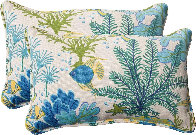 Pillow Perfect 496375 Outdoor Indoor Splish NEW before selling ☆ mart Splash Marina Lumbar