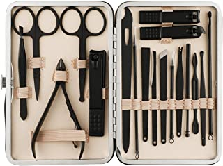 Beauté Secrets Manicure Pedicure kit,18pcs Stainless Steel Professional Nail Clippers Pedicure Set with Black Leather Stor...