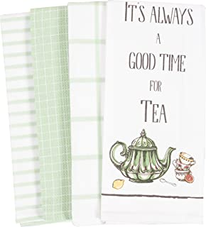 KAF Home Pantry Always A Good Time for Tea Kitchen Dish Towel Set of 4, 18 x 28-Inch